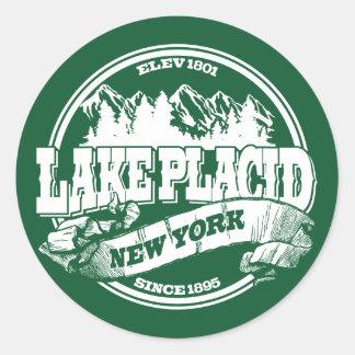 Lake Placid Old Circle Green Round Sticker