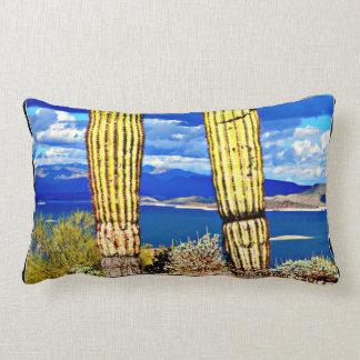 Lake Pleasant Pillar Saguaros Lumbar Pillow