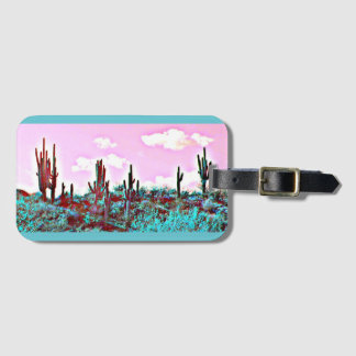 Lake Pleasant Turquoise Saguaros Luggage Tag