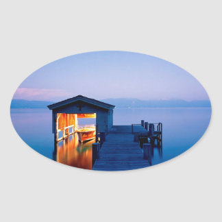 Lake Quiet Getaway Tahoe Nevada Oval Sticker