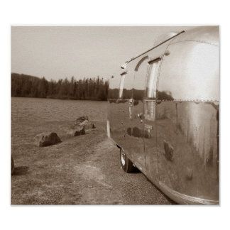 Lake Reflection Mirrored on Tin Can Sepia Photo Poster