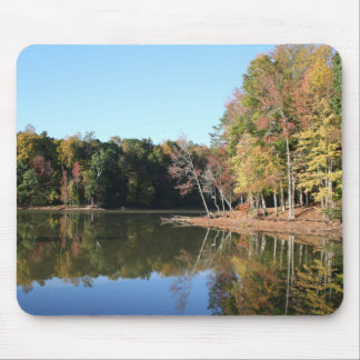 Lake Reflection of Orange Fall Leaves & Blue Skies Mouse Pad