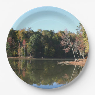 Lake Reflection of Orange Fall Leaves & Blue Skies Paper Plate