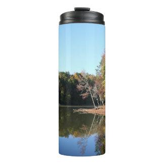 Lake Reflection of Orange Fall Leaves & Blue Skies Thermal Tumbler