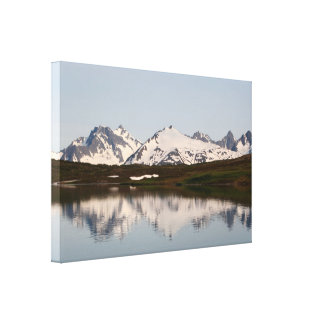 Lake reflections of mountains, Alaska Canvas Print