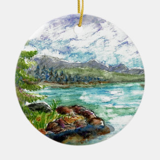 Lake Scene - watercolor pencil Ceramic Ornament