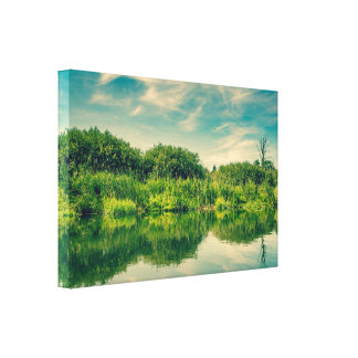 Lake scenery with water reflections gallery wrapped canvas