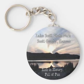 Lake Scott Sunset Basic Round Button Key Ring