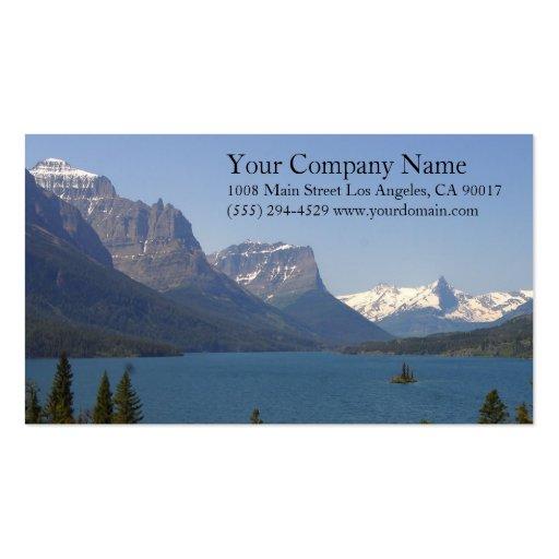 Lake Shore Shoreline Snowy Rocky Mountains Business Card