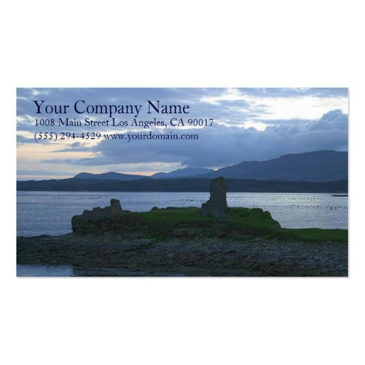 Lake Shore Shoreline Wooded Grassy Mountains Business Card Template