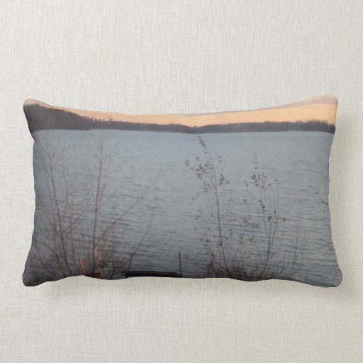 """Lake Shore Sunset """"Welcome to the Lake"""" Pillow"""