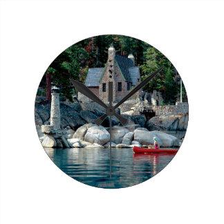 Lake Sight Seeing By Canoe Tahoe Wall Clocks