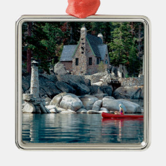 Lake Sight Seeing By Canoe Tahoe Silver-Colored Square Decoration