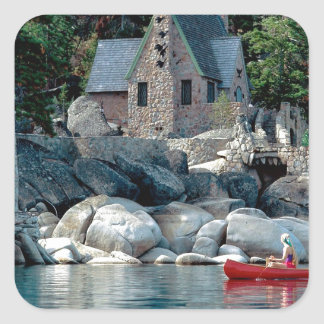 Lake Sight Seeing By Canoe Tahoe Square Sticker