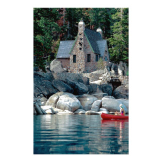 Lake Sight Seeing By Canoe Tahoe Stationery Paper