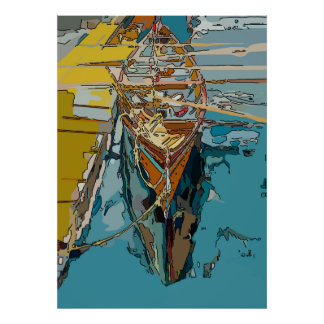 Lake Skiff, abstract Poster