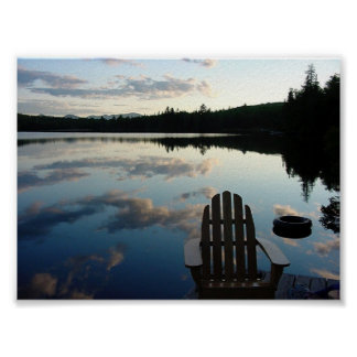 Lake Snow Sunset Poster