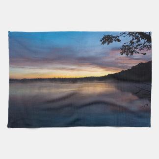Lake Springfield Autumn Sunrise Tea Towel