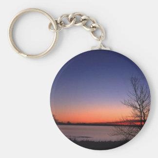 Lake Sunrise Basic Round Button Key Ring