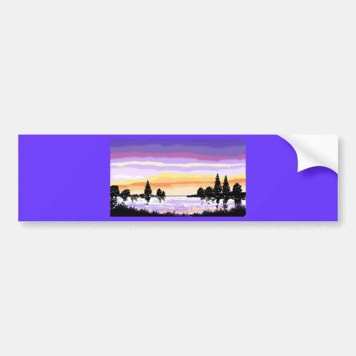 Lake Sunset Cards Bumper Sticker