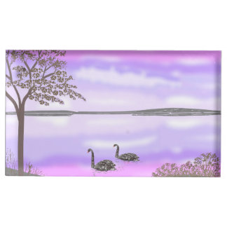 Lake sunset scene with swans, wedding set table card holders