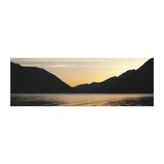 Lake Sunset Silhouette Canvas Print