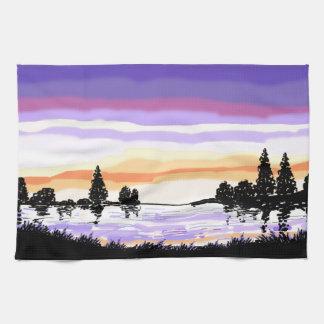 Lake Sunset tea towel