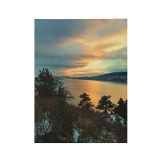 Lake Sunset Wood Poster