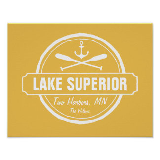 Lake Superior, custom town, name, anchor, paddles Poster