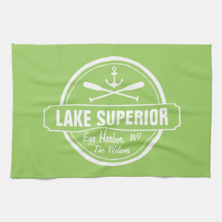 Lake Superior, custom town, name, anchor, paddles Tea Towel