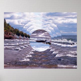 Lake Superior Island Waves Poster