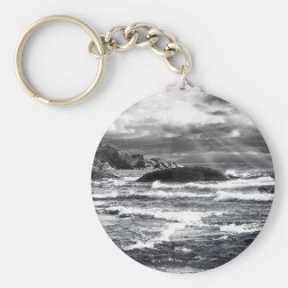 Lake Superior Lightrays Basic Round Button Key Ring