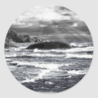 Lake Superior Lightrays Round Sticker