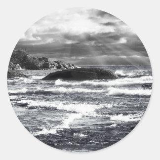 Lake Superior Lightrays Round Stickers