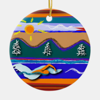 Lake Swim round ornament