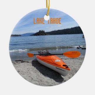 Lake Tahoe Kayak Round Ceramic Decoration