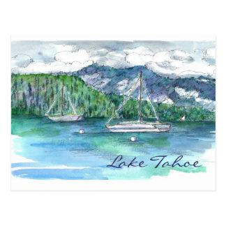 Lake Tahoe Sailing Mountains Clouds Postcard