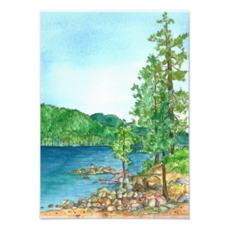 Lake Tahoe Sand Harbor Watercolor Landscape Photo Print
