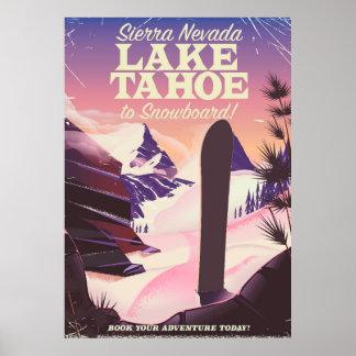 Lake Tahoe Sierra Nevada USA Snowboarding poster