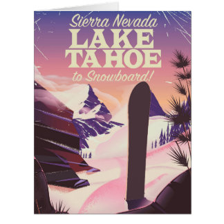 Lake Tahoe Sierra Nevada USA Snowboarding poster Card