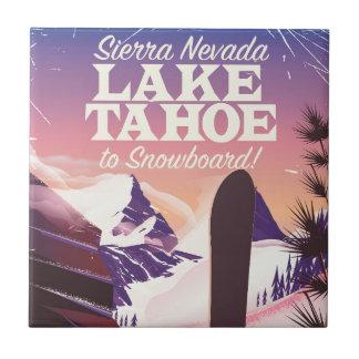 Lake Tahoe Sierra Nevada USA Snowboarding poster Ceramic Tile
