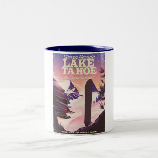 Lake Tahoe Sierra Nevada USA Snowboarding poster Two-Tone Coffee Mug