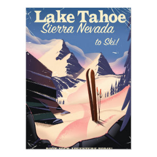Lake Tahoe sierra nevada vintage ski poster Card