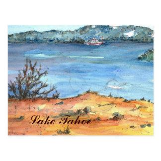 Lake Tahoe Summer Beach Boat Postcard