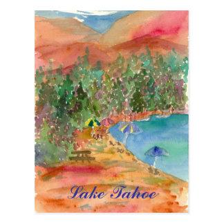 Lake Tahoe Summer Beach Umbrellas Mountains Postcard