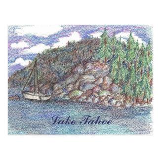 Lake Tahoe Summer Sailing Cloudy Sky Postcard