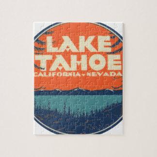Lake Tahoe Vintage Travel Decal Design Jigsaw Puzzle
