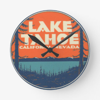 Lake Tahoe Vintage Travel Decal Design Wallclocks