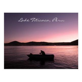 Lake Titicaca Sunset in Peru Postcard