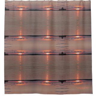 Lake Vermilion Rose Sunset Waters, geometric Shower Curtain
